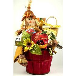 Smiling Scarecrow Candy Apple Fall Gift Basket