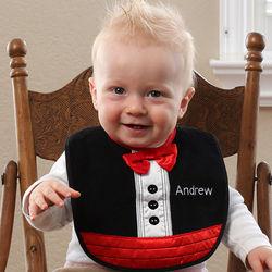 Black Tuxedo Personalized Baby Bib