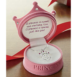 Princess Pendant in Pink Crown Box