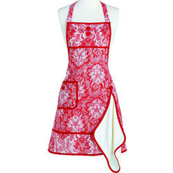 Gigi Red Paisley Damask Apron with Towel
