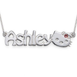 Girl's Cute Kitten Personalized Name Necklace
