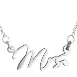 Just Married Mrs. Sterling Silver Necklace
