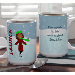 Ice Skater 15-Ounce Personalized Holiday Mug