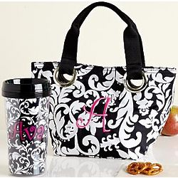 Personalized Black and White Mini Tote with Travel Mug