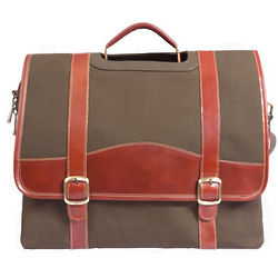Leather and Canvas Greenmill Computer Briefcase