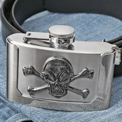 Skull and Bones Belt Buckle Flask