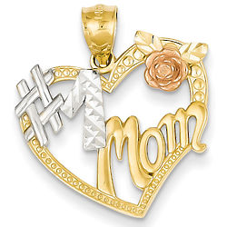 #1 Mom Tri-Tone Heart Pendant in 14K Gold