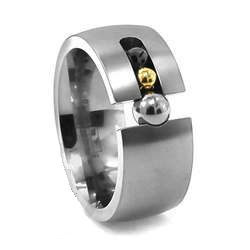 Titanium Ring with Rolling Gold & Onyx Balls