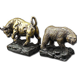 Stock Market Bull and Bear Bookends in Bronze