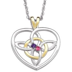 Sterling Silver Celtic Love Knot Couple's Birthstone Pendant