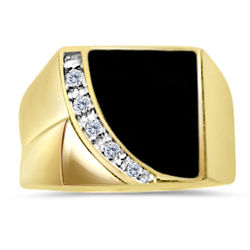 Mens Onyx and Diamond Ring in 14K Gold