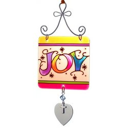 Engraved 'Joy' Stained Glass Sun Catcher Ornament