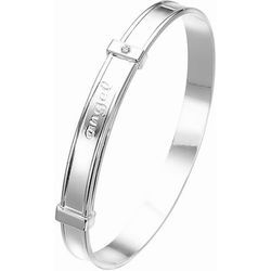 Diamond Angel Baby Bangle in Silver