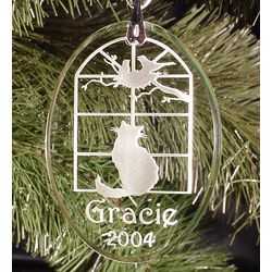 Personalized Cat Theme Etched Glass Ornament