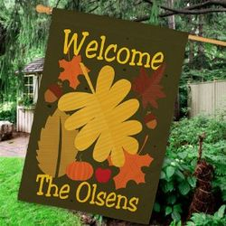 Personalized Welcome Fall House Flag