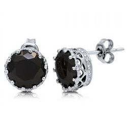 8mm Black Cubic Zirconia Stud Earrings