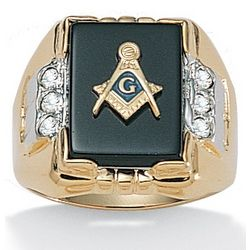 Men's Masonic Onyx Ring