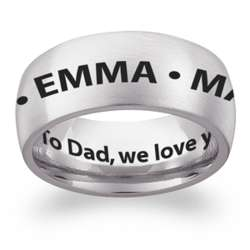 Stainless Steel Engraved Names Extra Wide Band