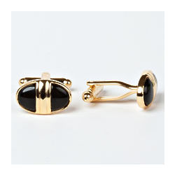 Baxter Black Oynx Rhodium Plated Cufflinks