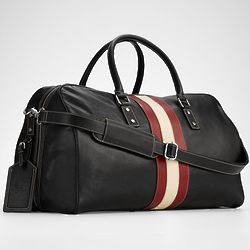 Leather Weekender Bag with Racing Stripe