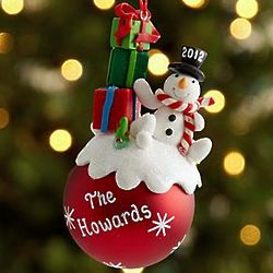 Personalized Snowman with Presents Ornament
