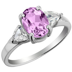 3 Stone Created Pink Sapphire and White Topaz Ring