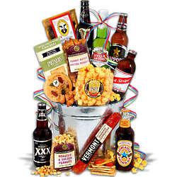 Men's Beer and Smoked Pepperoni Gift Bucket