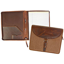 Leather and Canvas Fern Zip-Around Folder
