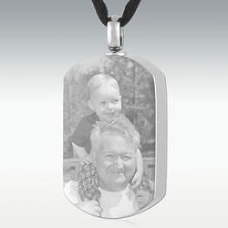Photo Dog Tag Engravable Stainless Steel Memorial Pendant