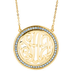 Gold Plated Monogram Birthstone Necklace