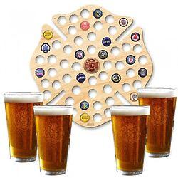 Custom Maltese Cross Beer Cap Map and Beer Glasses Set