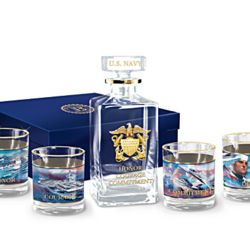 US Navy Salute 5 Piece Decanter Set with Dennis Lyall Naval Art