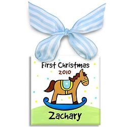 Boys First Christmas Rocking Horse Ornament