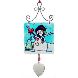Personalized Snowman Stained Glass Sun Catcher Ornament