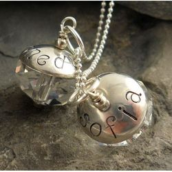 Personalized Crystal Drop Hand Stamped Necklace