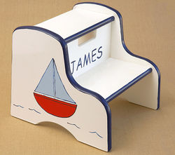 Hand Painted Kids Step Stool - Sailboat (Blue)