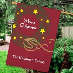 Personalized Christmas Wreath House Flag