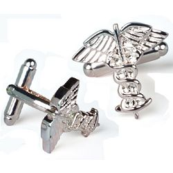 Rhodium Plated Caduceus Cufflinks with Engraved Box