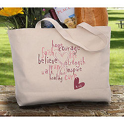 Love Life Personalized Breast Cancer Rhinestone Tote