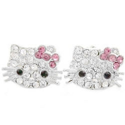 Medium Kitty Crystal Stud Earrings with Pink Bow