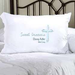 Personalized Blue Message of Faith Pillow Case