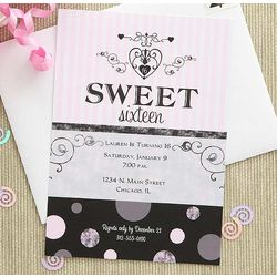 Sweet Sixteen Personalized Birthday Party Invitations