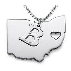 Personalized State Heart Necklace