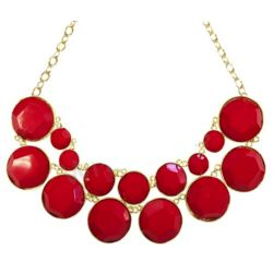 Designer Inspired Double Layer Red Bubble Necklace