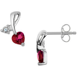 Created Ruby Heart Earrings with Diamonds