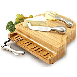 Grand Piano Bamboo Cheese Board and Cheese Knife Set