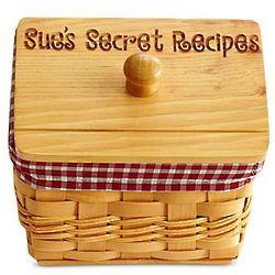 Personalized Wood Recipe Box with Red Gingham