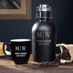 Fresh Brewed Personalized Coffee Growler and Mug