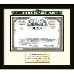 Framed Xerox Corporation Certificate