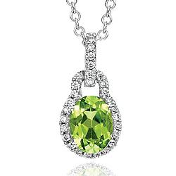14k White Gold Elegant Peridot Diamond Necklace